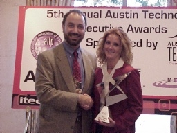 "Kathleen Hannon of TekSystems receives the first annual ""Selling to CIOs Award"" from ATC Executive Director Paul Toprac"